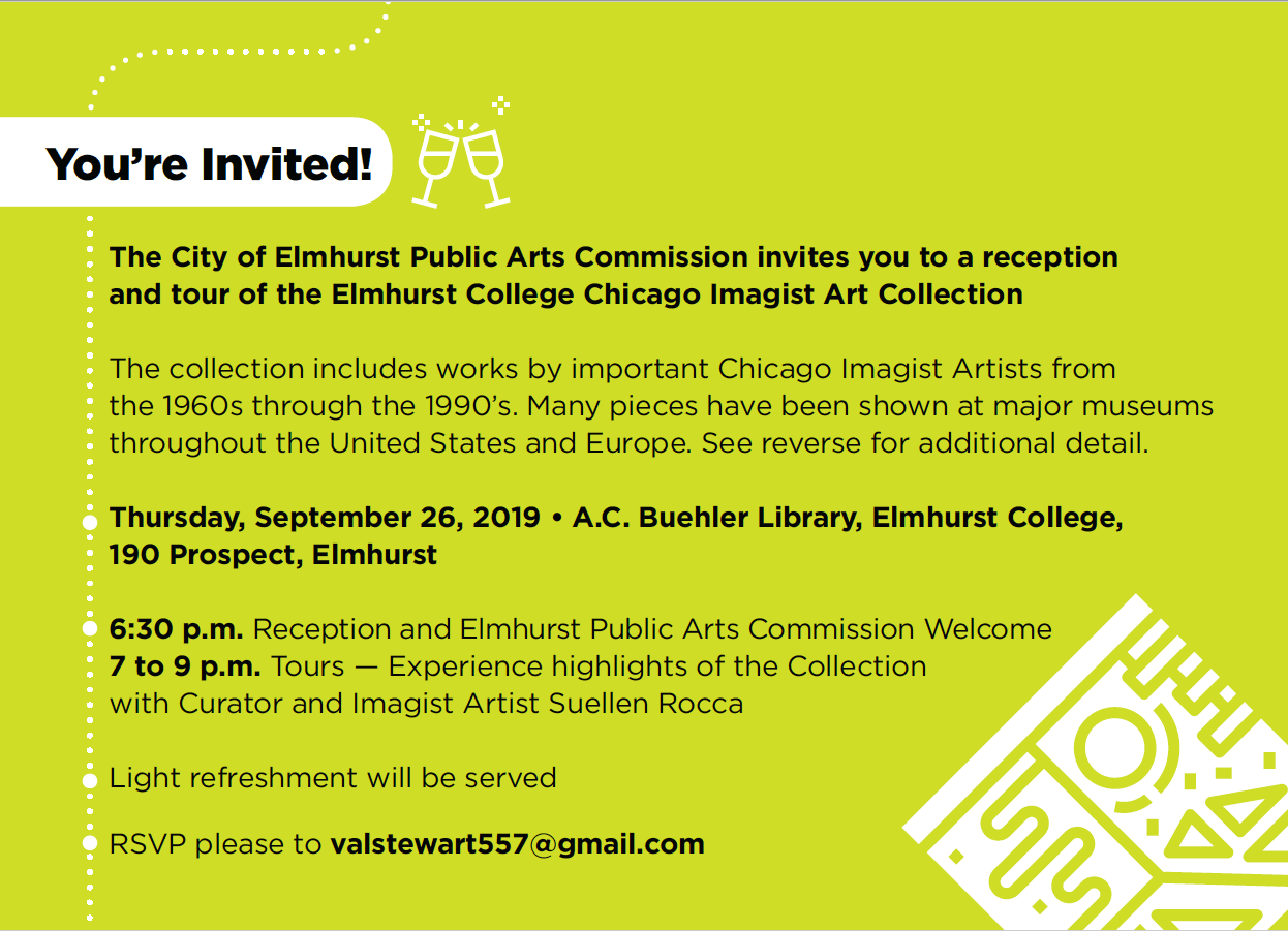 City of Elmhurst Public Arts Commission reception & tour of the Elmhurst College Chicago Imagist Art