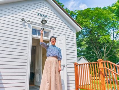 Schoolmarm at Churchville Schoolhouse
